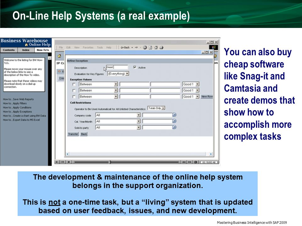 Mastering Business Intelligence with SAP 2009 Online Help Systems — Animations You can also buy cheap software like Snag-it and Camtasia and create demos that show how to accomplish more complex tasks The development & maintenance of the online help system belongs in the support organization.