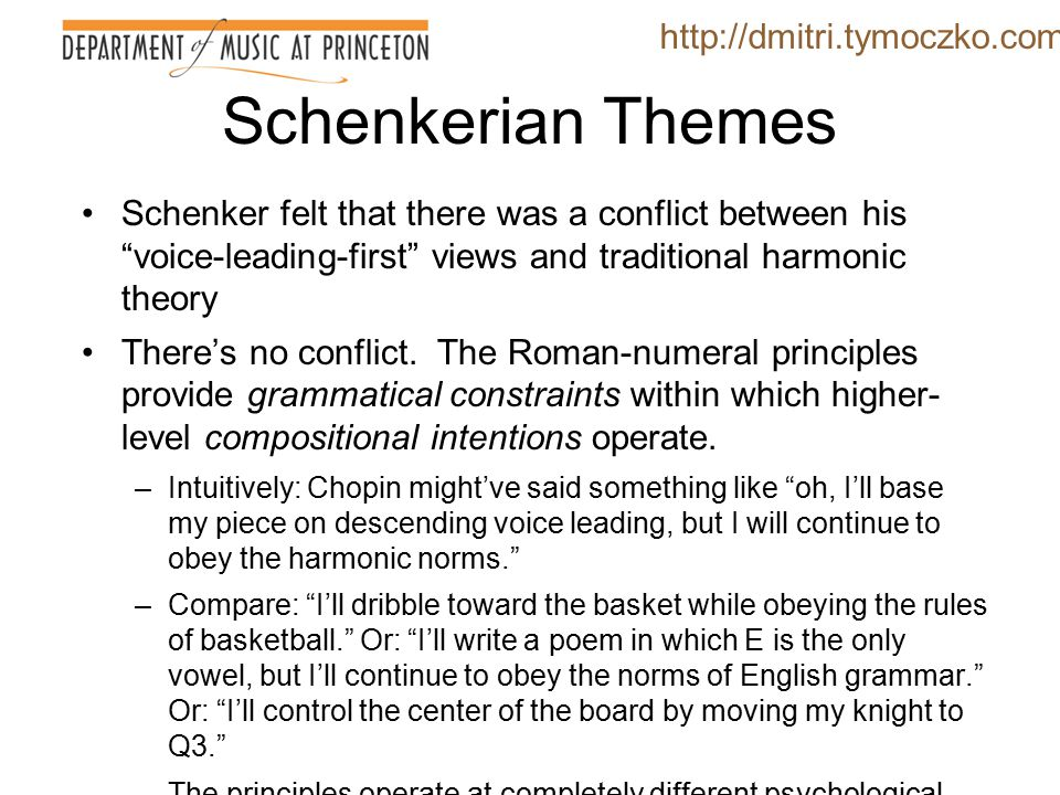 Schenkerian Themes Though he detested Riemann and Rameau, Schenker remained fundamentally rooted in the TSDT paradigm.