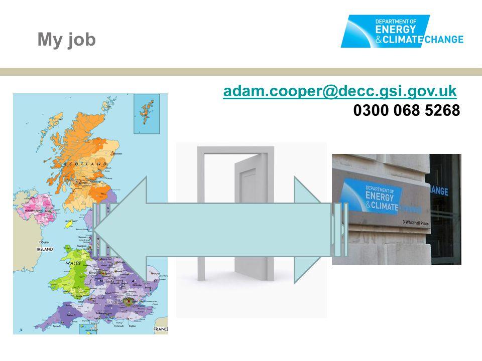 My job adam.cooper@decc.gsi.gov.uk 0300 068 5268
