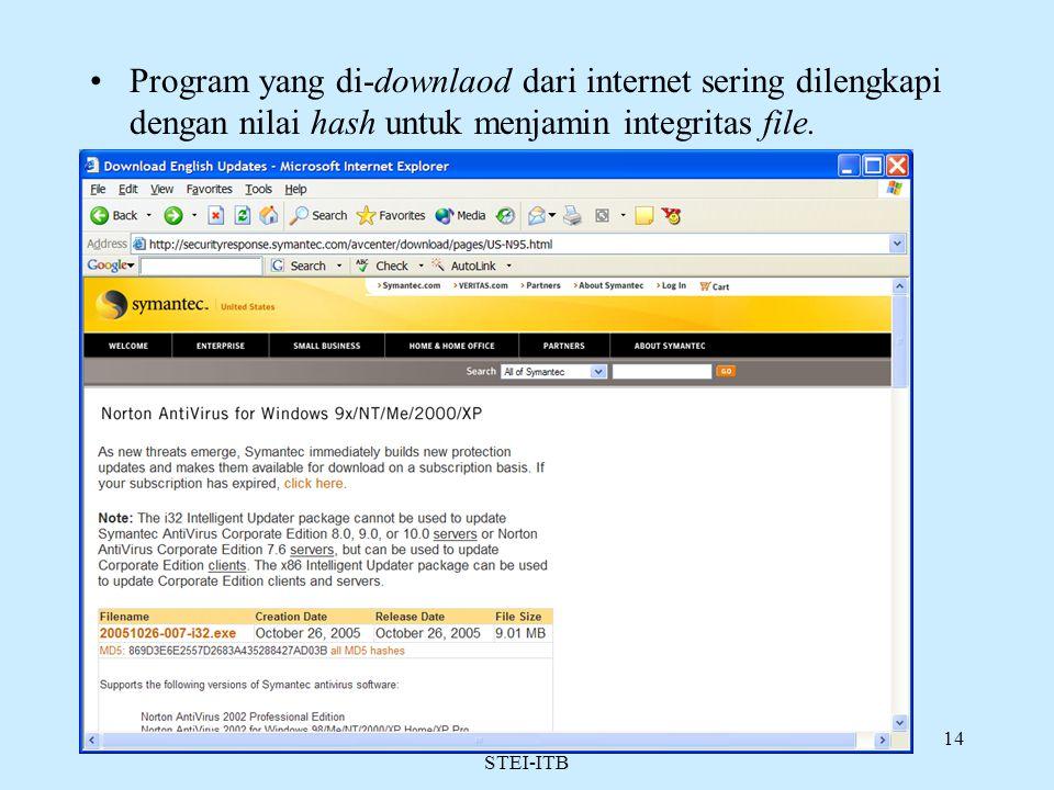 Rinaldi Munir/Teknik Informatika STEI-ITB 14 Program yang di-downlaod dari internet sering dilengkapi dengan nilai hash untuk menjamin integritas file