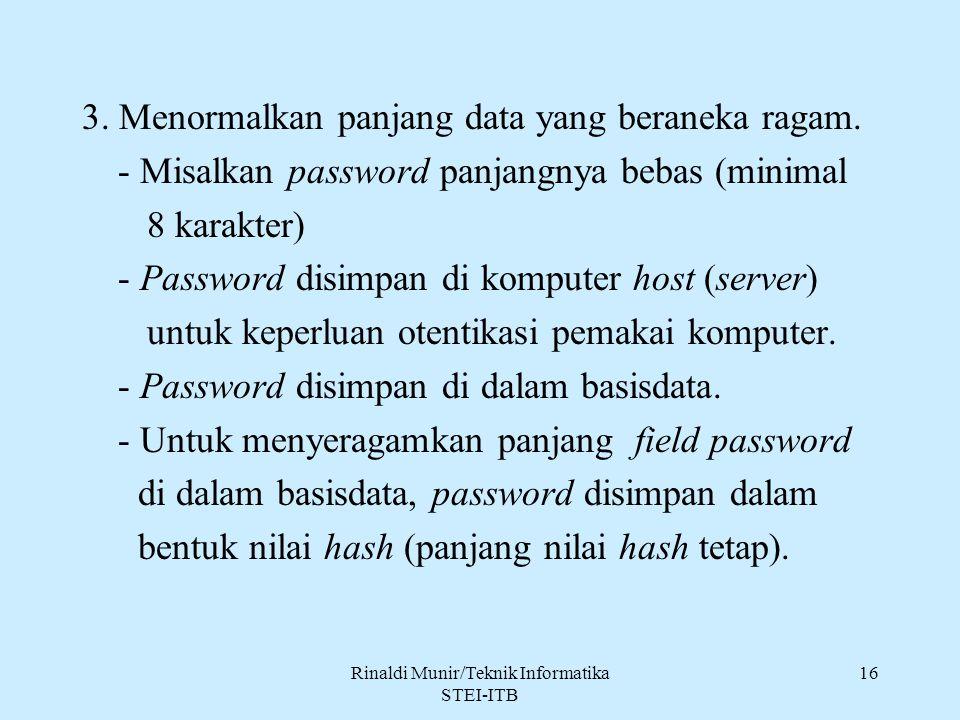 Rinaldi Munir/Teknik Informatika STEI-ITB 16 3. Menormalkan panjang data yang beraneka ragam. - Misalkan password panjangnya bebas (minimal 8 karakter