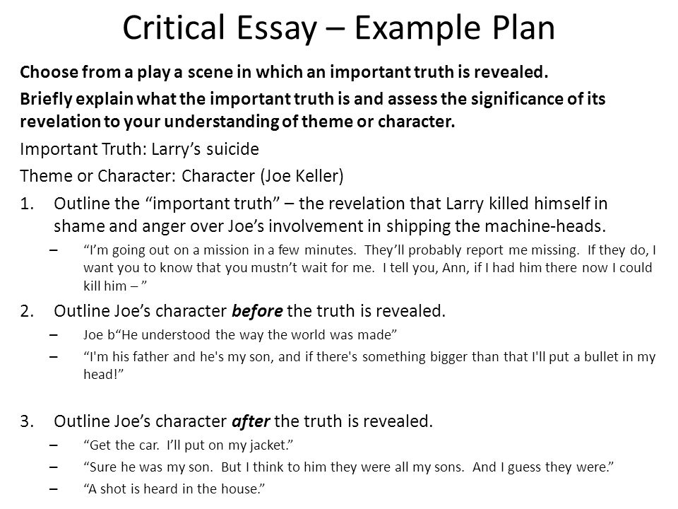 all my sons – critical essay question choose from a play a scene    critical essay – example plan choose from a play a scene in which an important truth