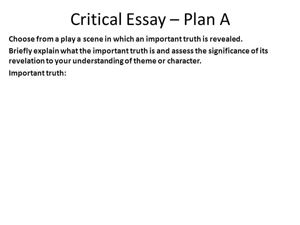 Important question about critical essay?