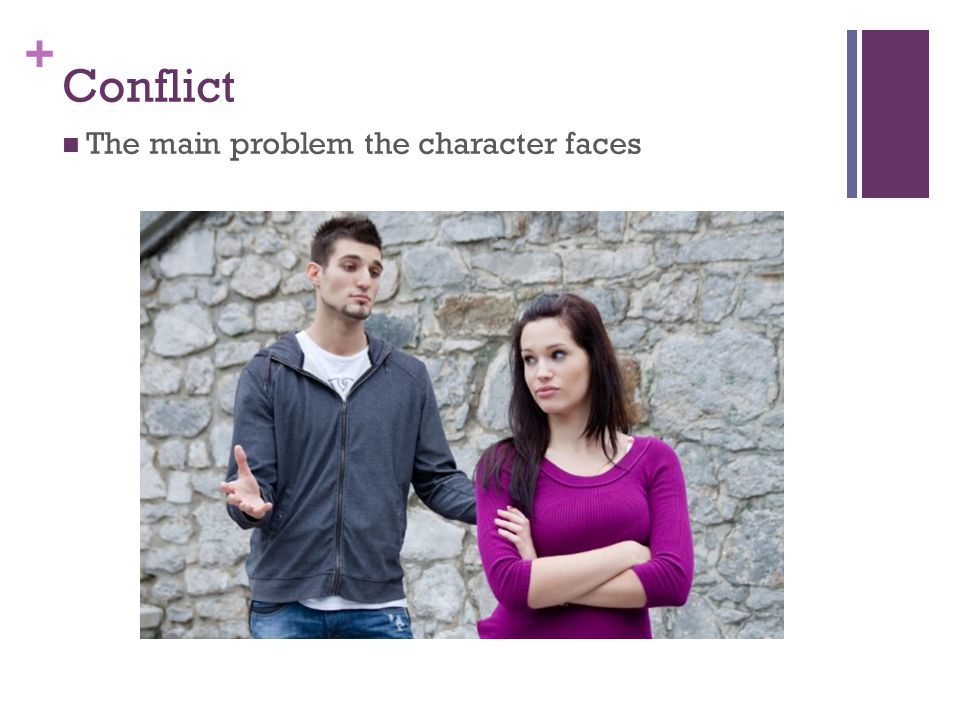 + Conflict The main problem the character faces