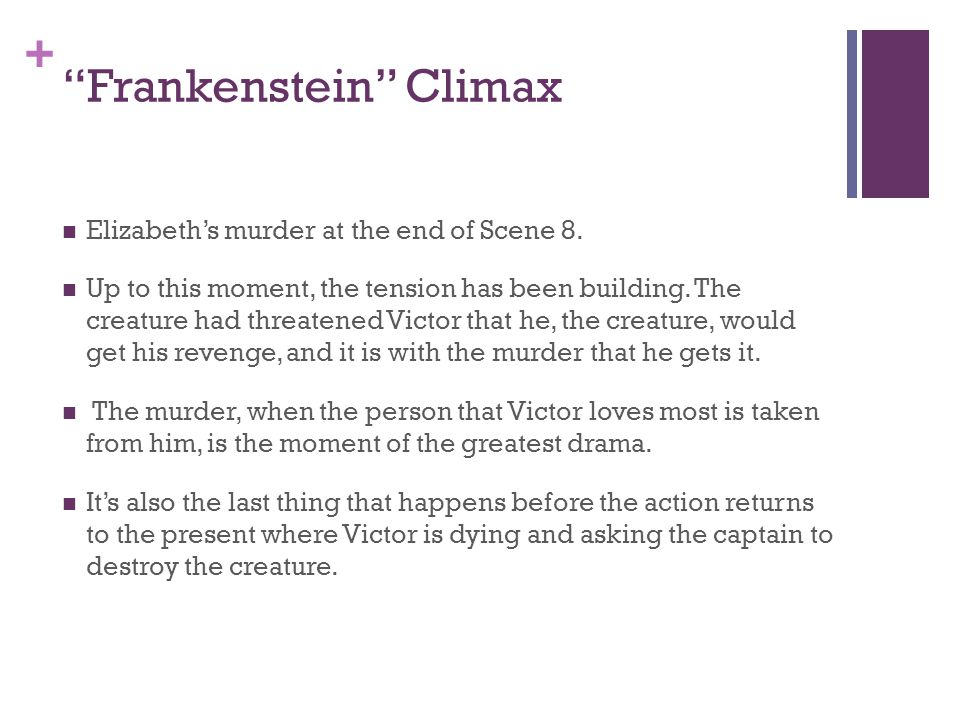 "+ ""Frankenstein"" Climax Elizabeth's murder at the end of Scene 8. Up to this moment, the tension has been building. The creature had threatened Victor"