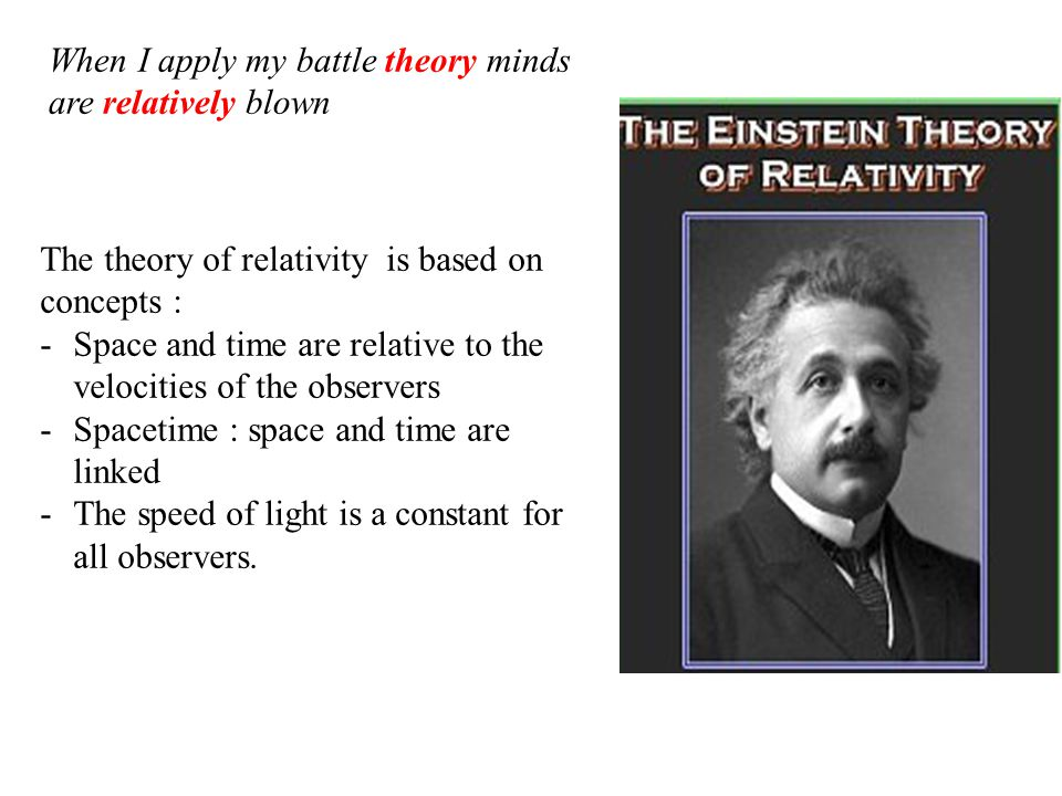The theory of relativity is based on concepts : -Space and time are relative to the velocities of the observers -Spacetime : space and time are linked
