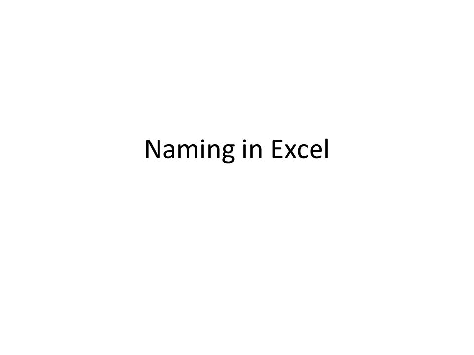 Naming in Excel