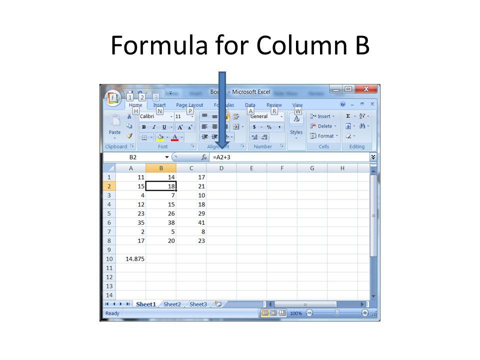Formula for Column B