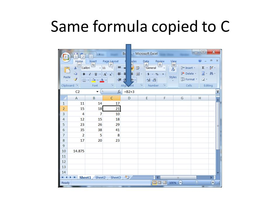 Same formula copied to C