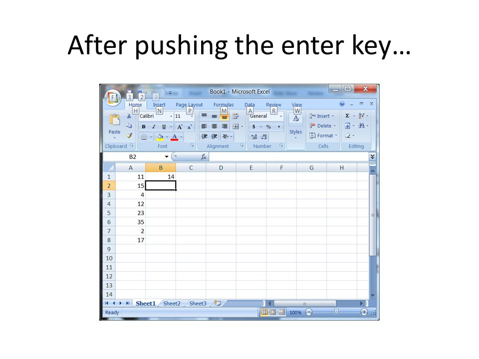 After pushing the enter key…