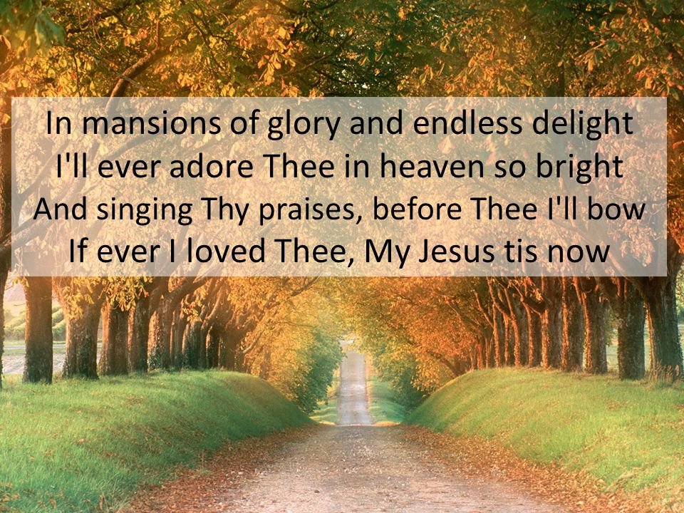 In mansions of glory and endless delight I'll ever adore Thee in heaven so bright And singing Thy praises, before Thee I'll bow If ever I loved Thee,