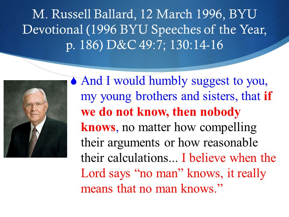 M. Russell Ballard, 12 March 1996, BYU Devotional (1996 BYU Speeches of the Year, p.