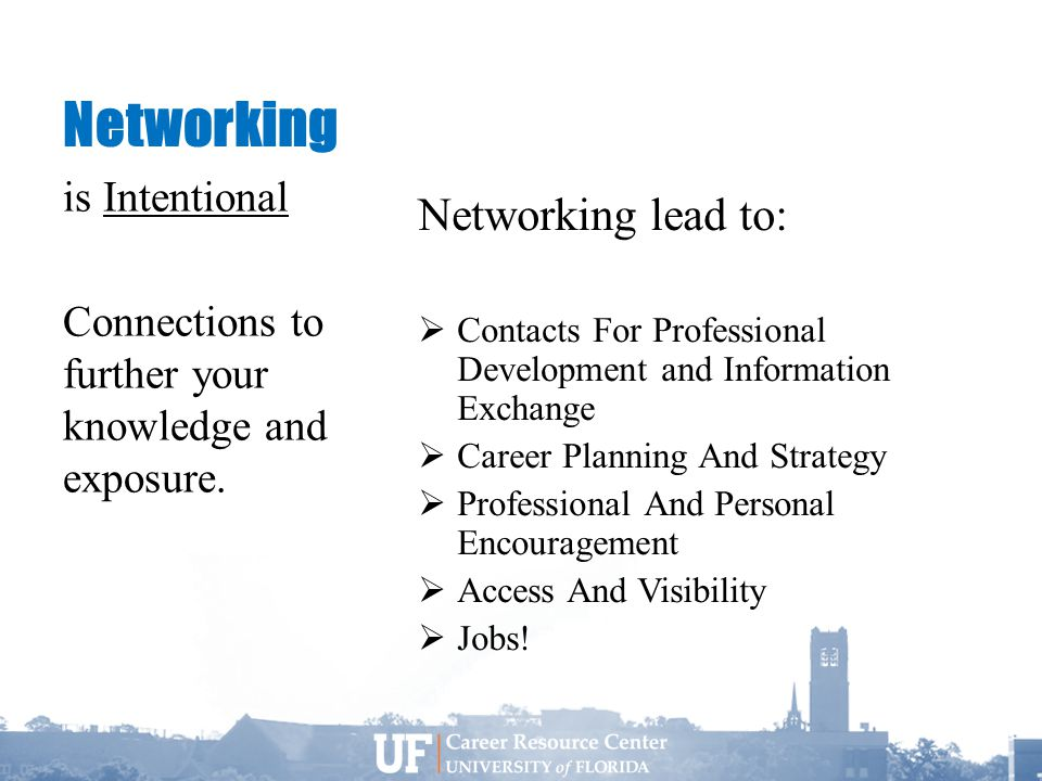 Networking Networking lead to:  Contacts For Professional Development and Information Exchange  Career Planning And Strategy  Professional And Personal Encouragement  Access And Visibility  Jobs.