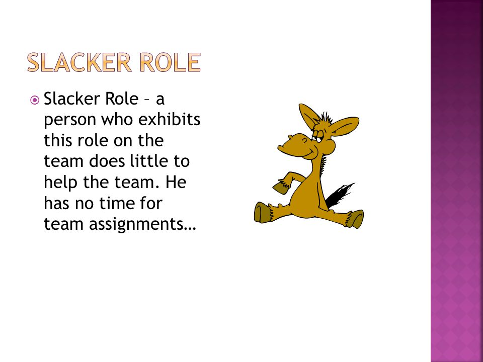  Slacker Role – a person who exhibits this role on the team does little to help the team.