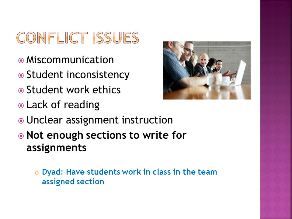  Miscommunication  Student inconsistency  Student work ethics  Lack of reading  Unclear assignment instruction  Not enough sections to write for assignments Dyad: Have students work in class in the team assigned section