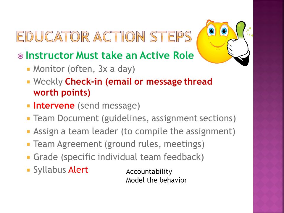  Instructor Must take an Active Role  Monitor (often, 3x a day)  Weekly Check-in (email or message thread worth points)  Intervene (send message)  Team Document (guidelines, assignment sections)  Assign a team leader (to compile the assignment)  Team Agreement (ground rules, meetings)  Grade (specific individual team feedback)  Syllabus Alert Accountability Model the behavior
