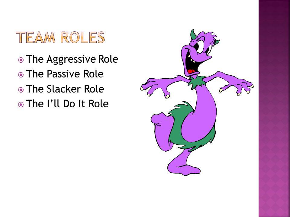  The Aggressive Role  The Passive Role  The Slacker Role  The I'll Do It Role