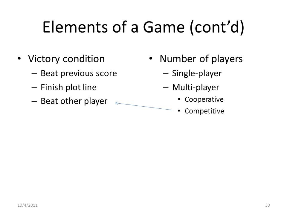 Elements of a Game (cont'd) Victory condition – Beat previous score – Finish plot line – Beat other player Number of players – Single-player – Multi-player Cooperative Competitive 10/4/201130