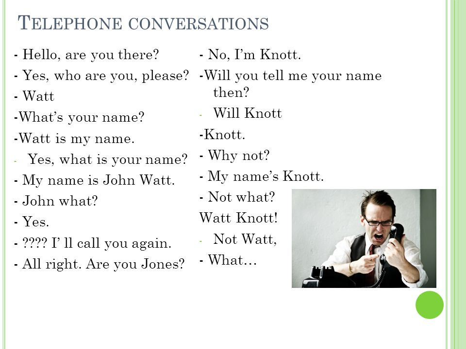 T ELEPHONE CONVERSATIONS - Hello, are you there? - Yes, who are you, please? - Watt -What's your name? -Watt is my name. - Yes, what is your name? - M