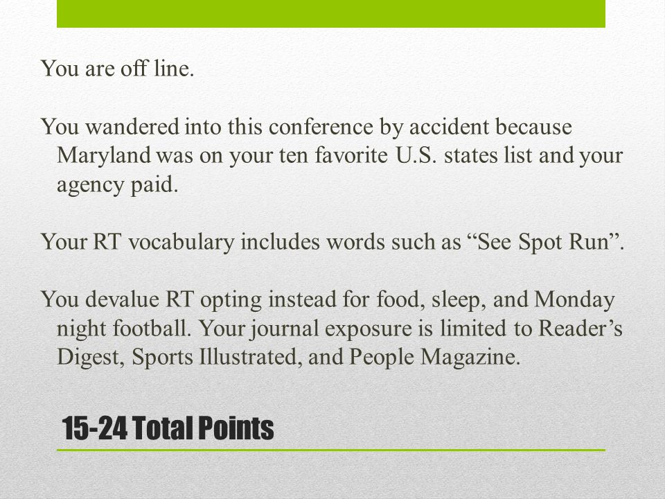 15-24 Total Points You are off line. You wandered into this conference by accident because Maryland was on your ten favorite U.S. states list and your