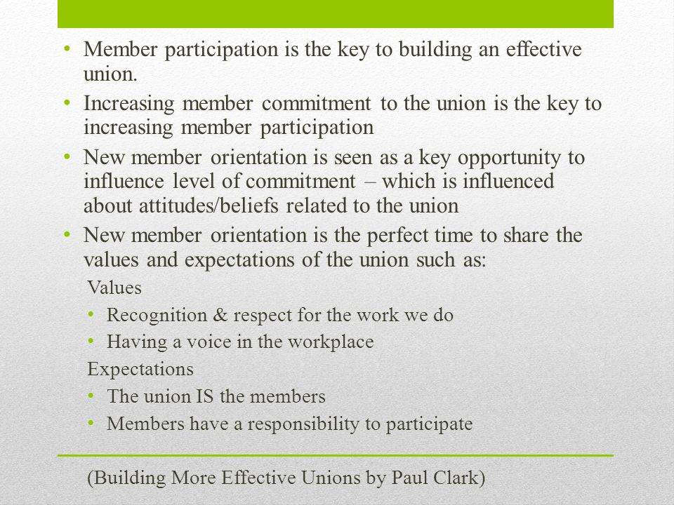 Member participation is the key to building an effective union. Increasing member commitment to the union is the key to increasing member participatio
