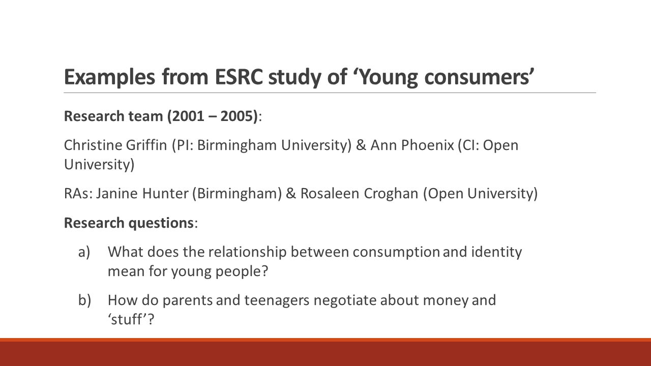 Examples from ESRC study of 'Young consumers' Research team (2001 – 2005): Christine Griffin (PI: Birmingham University) & Ann Phoenix (CI: Open University) RAs: Janine Hunter (Birmingham) & Rosaleen Croghan (Open University) Research questions: a) What does the relationship between consumption and identity mean for young people.