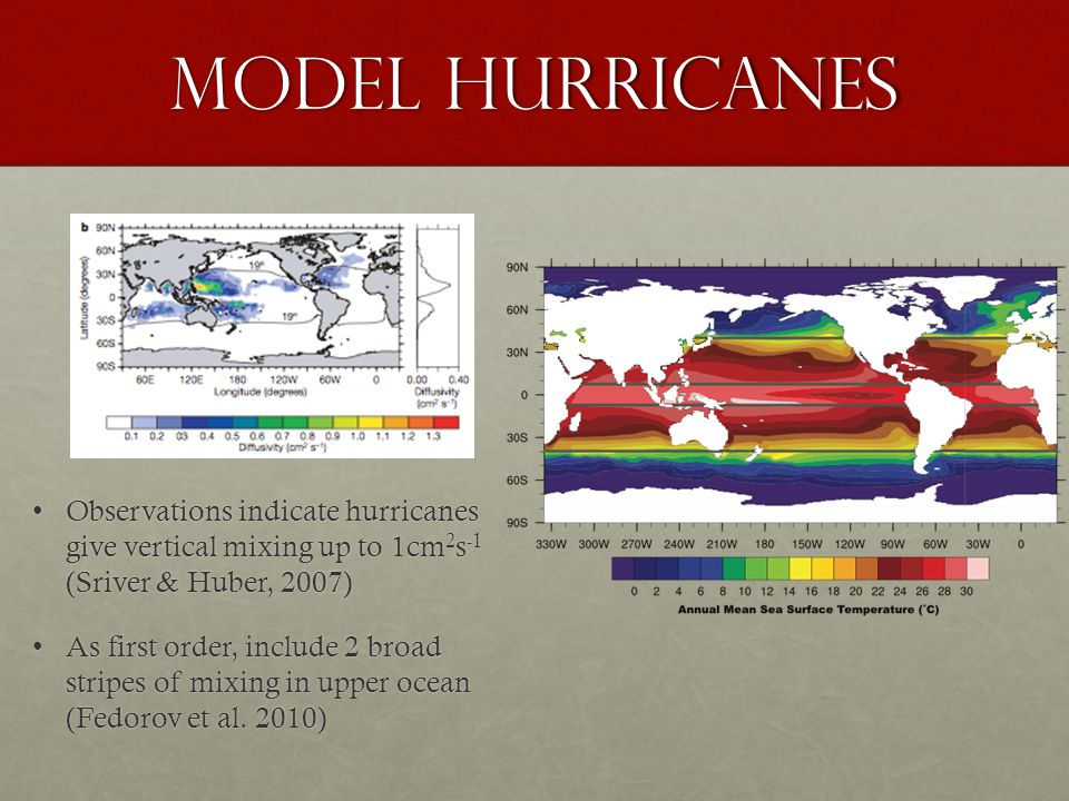 Model hurricanes Observations indicate hurricanes give vertical mixing up to 1cm 2 s -1 (Sriver & Huber, 2007)Observations indicate hurricanes give vertical mixing up to 1cm 2 s -1 (Sriver & Huber, 2007) As first order, include 2 broad stripes of mixing in upper ocean (Fedorov et al.