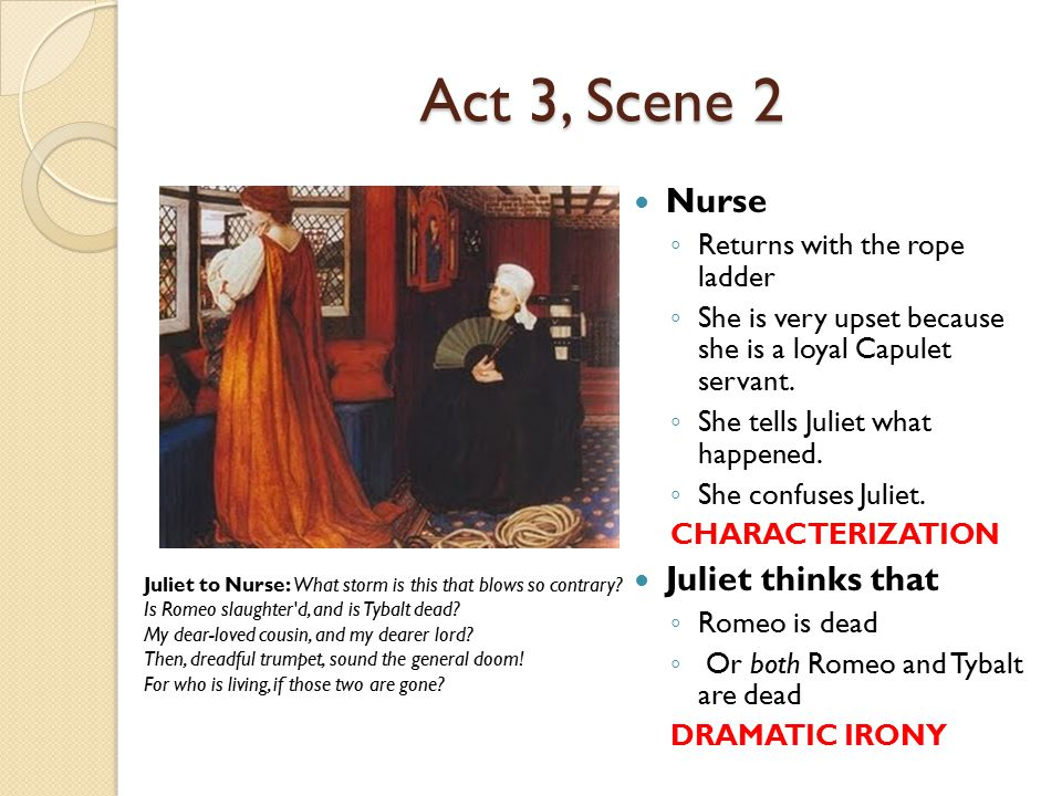 Act 3, Scene 2 Nurse ◦ Returns with the rope ladder ◦ She is very upset because she is a loyal Capulet servant. ◦ She tells Juliet what happened. ◦ Sh