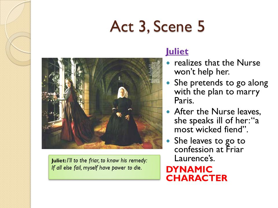Act 3, Scene 5 Juliet realizes that the Nurse won't help her. She pretends to go along with the plan to marry Paris. After the Nurse leaves, she speak