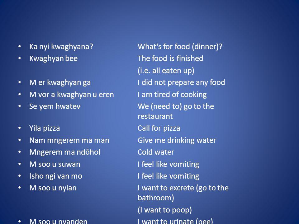 Vocabulary IV ya = eat ma = drink tsee = hot uma = dry oso = crunchy iuwe = kwaghyan = food iber = poridge ruam = pudding akamu = corn cereal ya = home iyough = house nenge = see, look kenger = look, observe, watch zuwa (zua) = meet ihinga = nose alôm = rabbit ishu = fish, fishes keng keng, kpee = must, definately faityô = can, able hana.