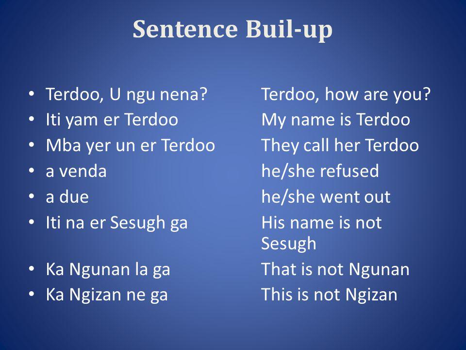 Or TivA Tiv man Kwase TivA Tiv woman Or AmericaAn American Or CanadaA Canadian Lamen (zwa) Tiv gaHe/she does not speak Tiv Lamen (zwa) Tiv dedoHe/she speaks Tiv well M fa zwa TivI (know) can speak Tiv M fa zwa Hausa kpaaI can also speak Hausa