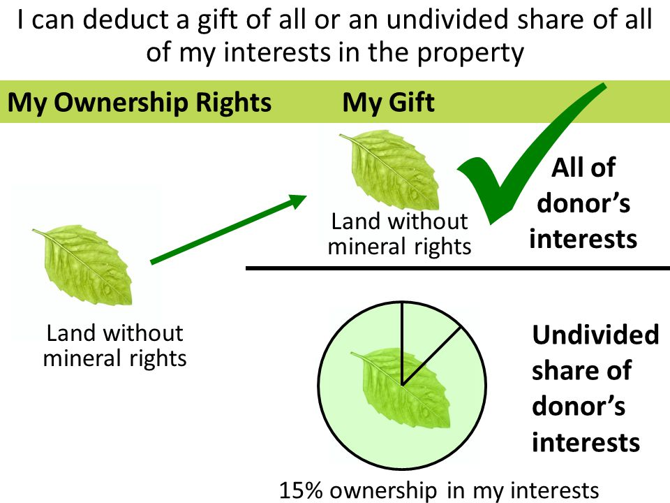 I can deduct a gift of all or an undivided share of all of my interests in the property All of donor's interests Undivided share of donor's interests Land without mineral rights 15% ownership in my interests Land without mineral rights My Ownership RightsMy Gift