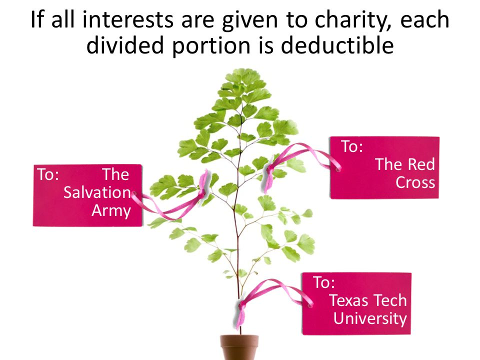 If all interests are given to charity, each divided portion is deductible To: The Salvation Army To: The Red Cross To: Texas Tech University