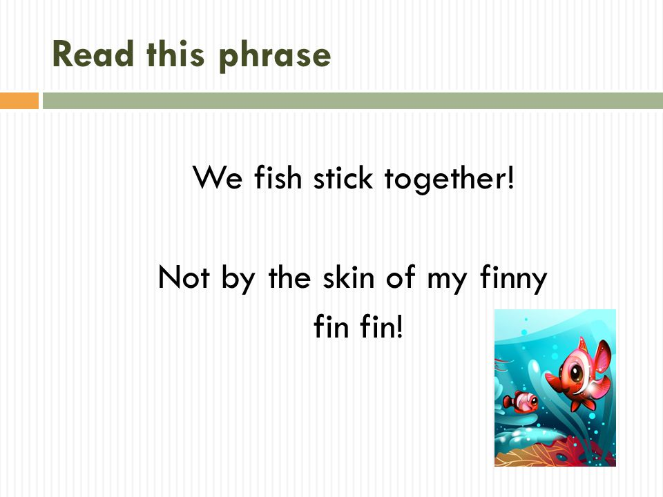 Read this phrase We fish stick together! Not by the skin of my finny fin fin!