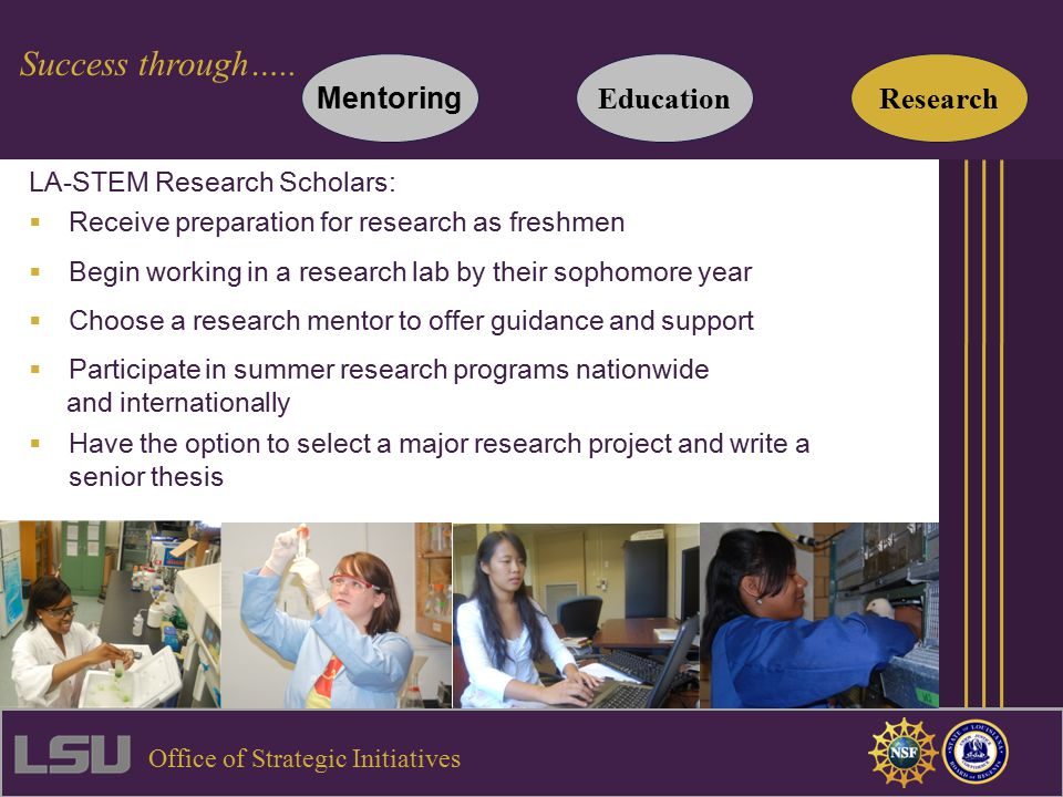 LA-STEM Research Scholars:  Receive preparation for research as freshmen  Begin working in a research lab by their sophomore year  Choose a research mentor to offer guidance and support  Participate in summer research programs nationwide and internationally  Have the option to select a major research project and write a senior thesis Mentoring Success through…..
