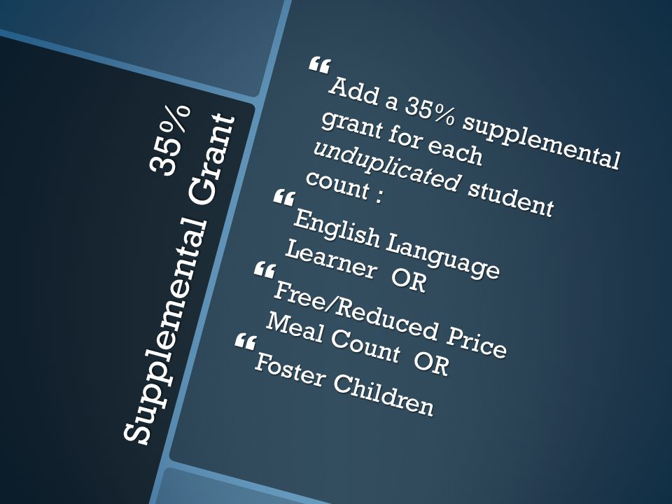 35% Supplemental Grant  Add a 35% supplemental grant for each unduplicated student count :  English Language Learner OR  Free/Reduced Price Meal Count OR  Foster Children