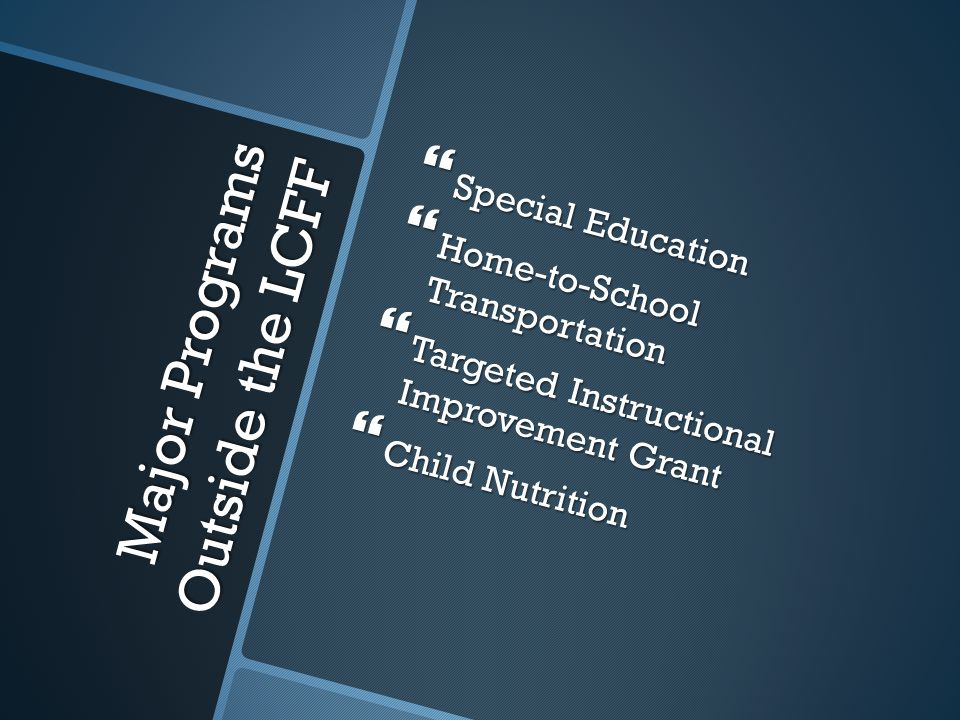Major Programs Outside the LCFF  Special Education  Home-to-School Transportation  Targeted Instructional Improvement Grant  Child Nutrition