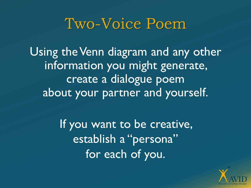 Two-Voice Poem Using the Venn diagram and any other information you might generate, create a dialogue poem about your partner and yourself. If you wan