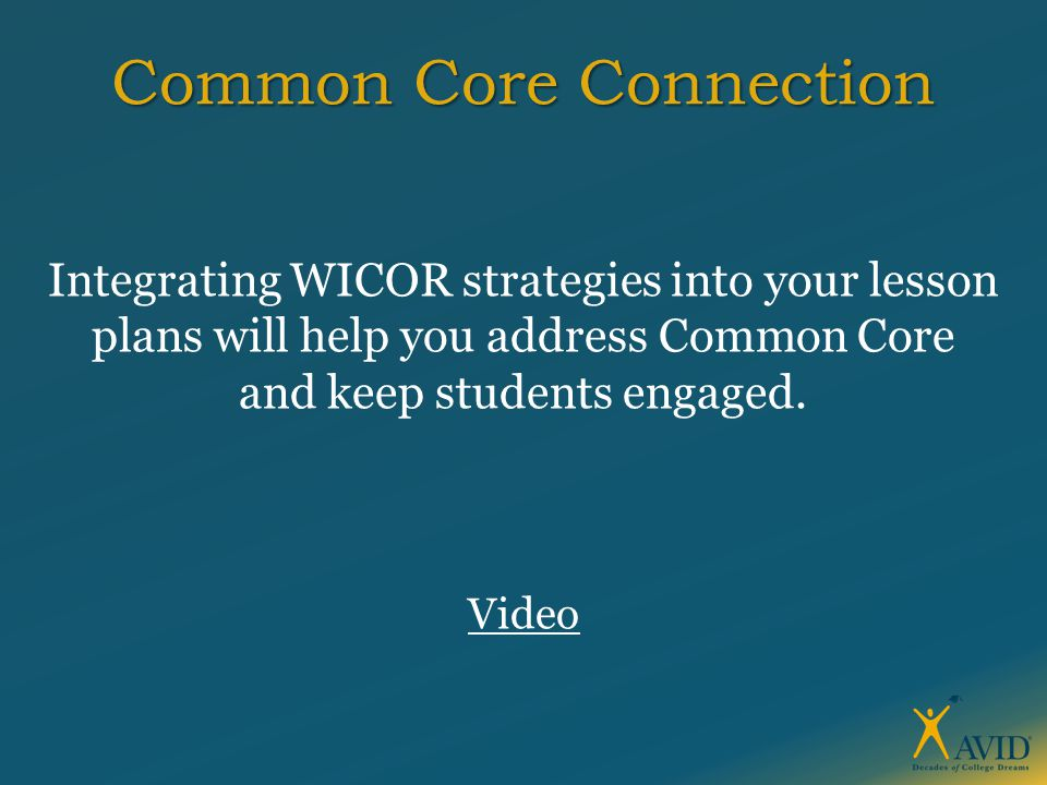 Common Core Connection Integrating WICOR strategies into your lesson plans will help you address Common Core and keep students engaged. Video