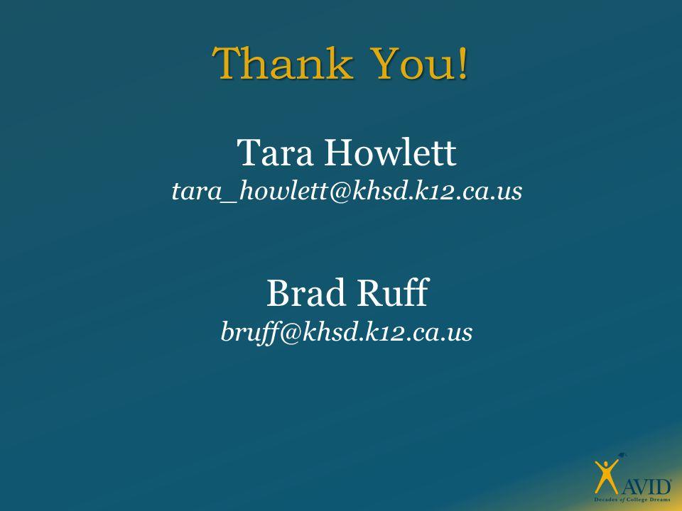Thank You! Tara Howlett tara_howlett@khsd.k12.ca.us Brad Ruff bruff@khsd.k12.ca.us