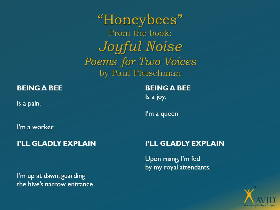 """""""Honeybees"""" From the book: Joyful Noise Poems for Two Voices by Paul Fleischman BEING A BEE is a pain. I'm a worker I'LL GLADLY EXPLAIN I'm up at dawn"""