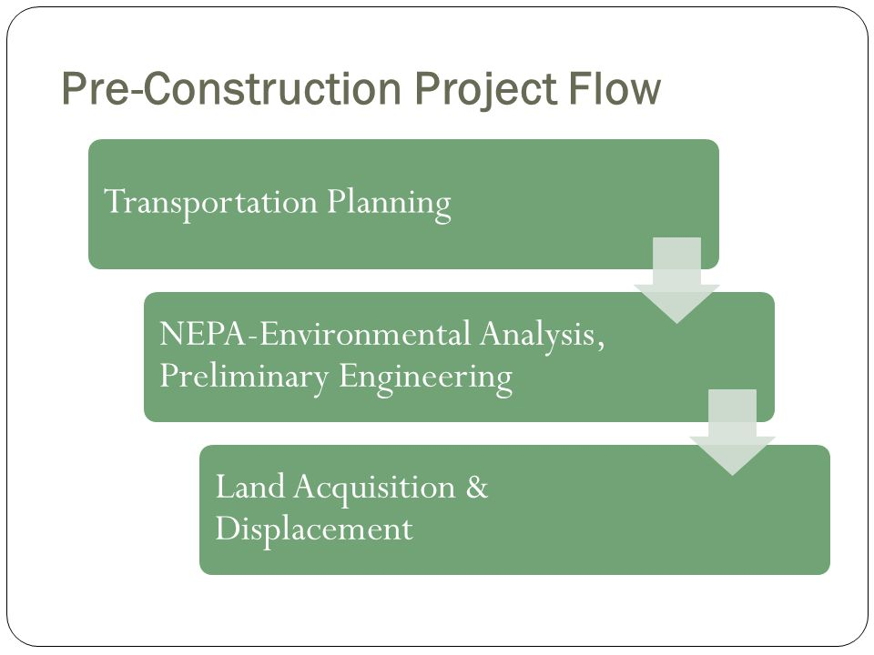 Pre-Construction Project Flow Transportation Planning NEPA-Environmental Analysis, Preliminary Engineering Land Acquisition & Displacement