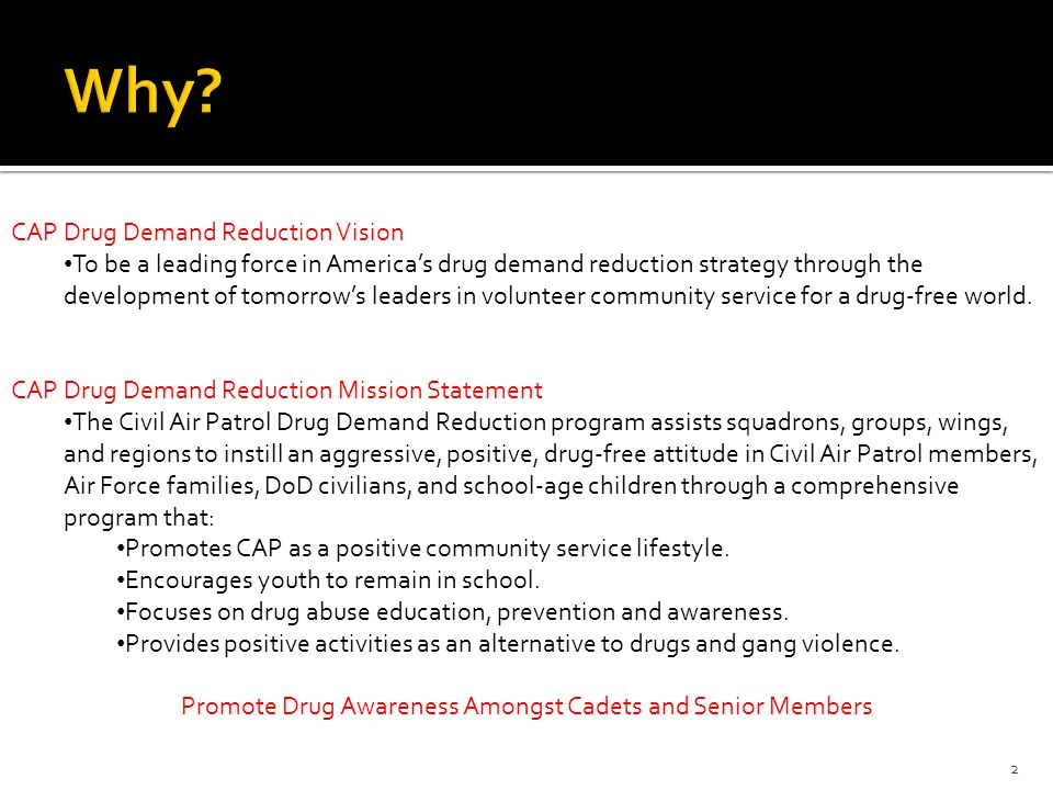 2 CAP Drug Demand Reduction Vision To be a leading force in America's drug demand reduction strategy through the development of tomorrow's leaders in volunteer community service for a drug-free world.