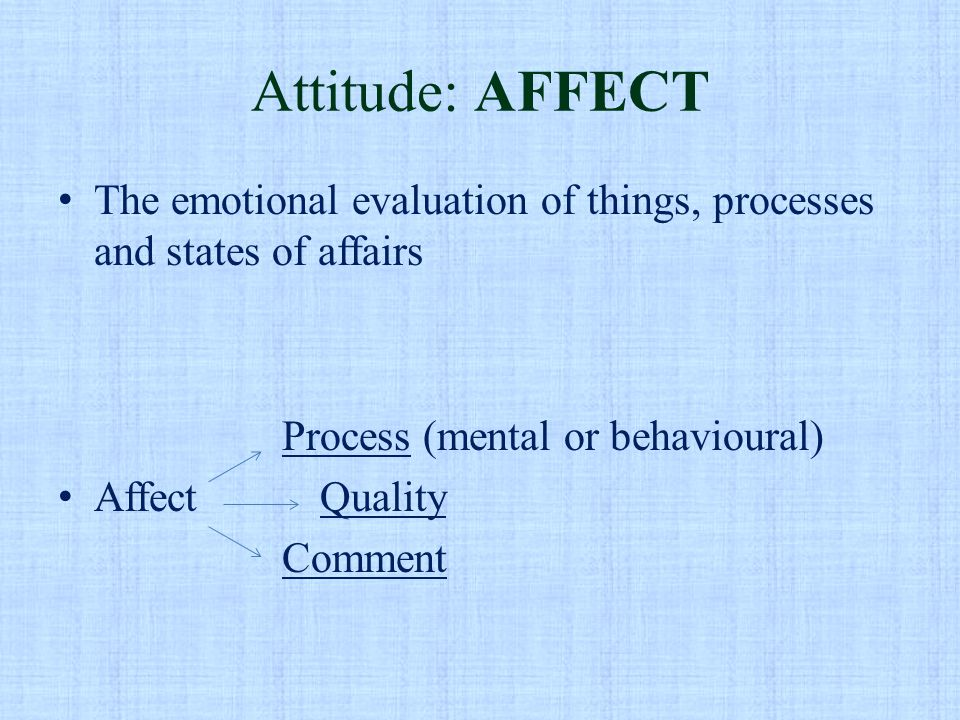 Attitude: AFFECT The emotional evaluation of things, processes and states of affairs Process (mental or behavioural) Affect Quality Comment