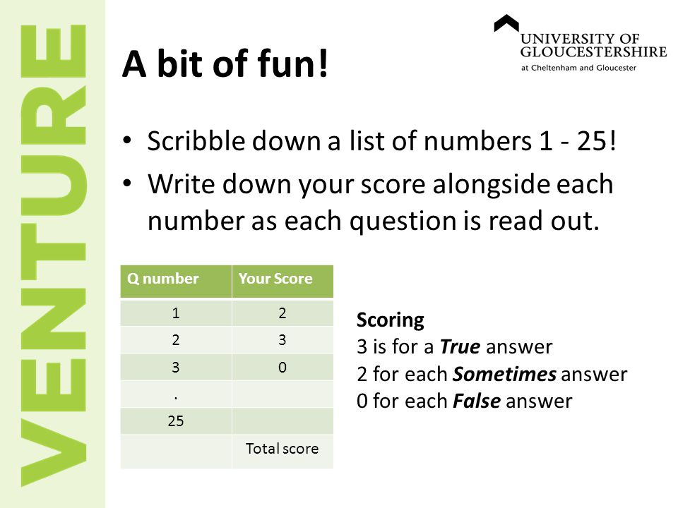 A bit of fun. Scribble down a list of numbers 1 - 25.