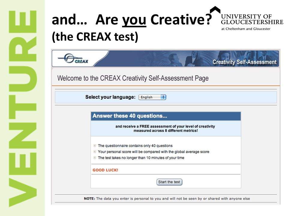 and… Are you Creative? (the CREAX test)