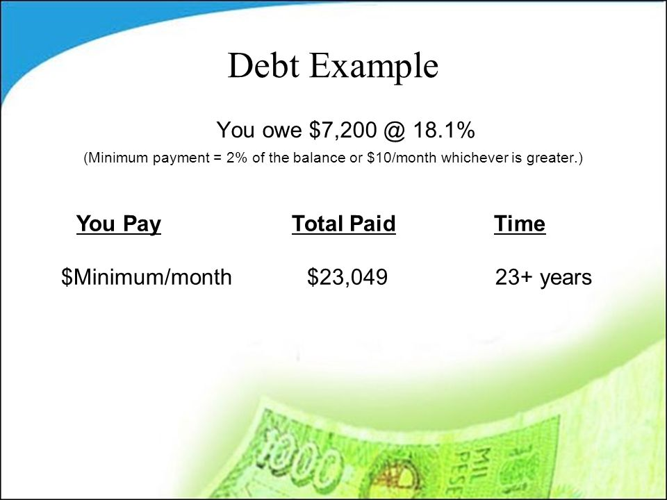 Debt Example You owe $7,200 @ 18.1% (Minimum payment = 2% of the balance or $10/month whichever is greater.) You Pay Total Paid Time $Minimum/month$23,049 23+ years