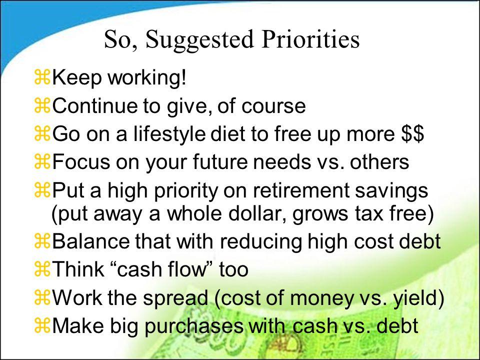 So, Suggested Priorities zKeep working.