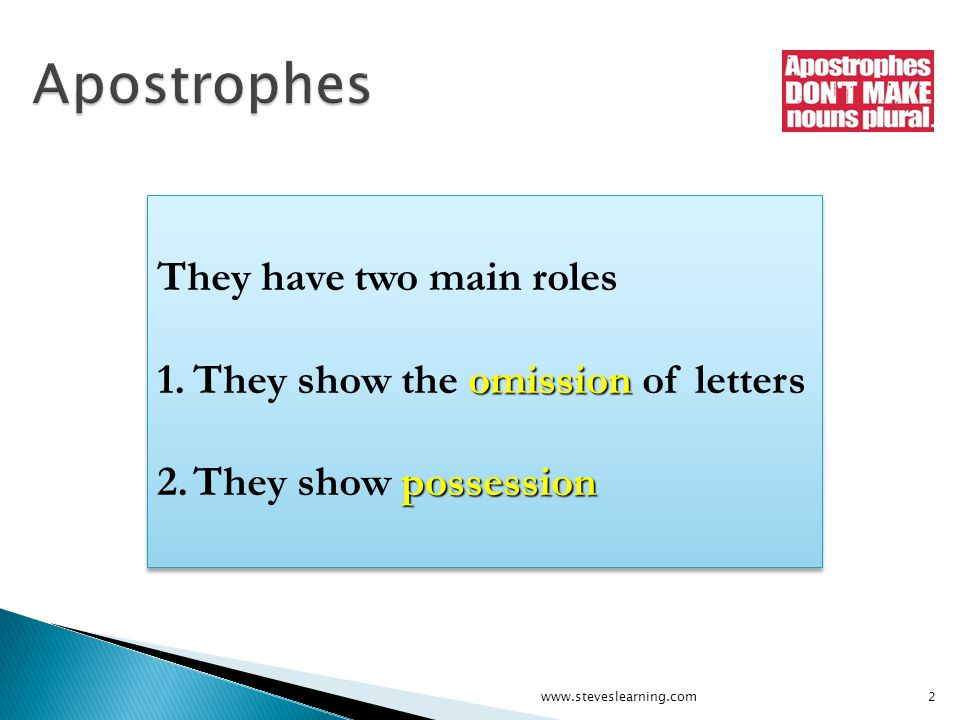 They have two main roles omission 1.They show the omission of letters possession 2.They show possession They have two main roles omission 1.They show the omission of letters possession 2.They show possession 2www.steveslearning.com