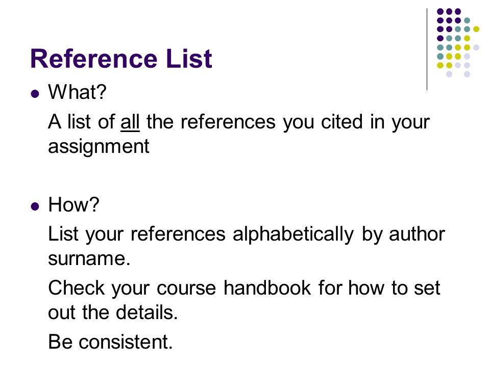 Reference List What. A list of all the references you cited in your assignment How.